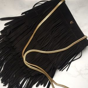 Vince Camuto Leather layered fringe crossbody bag